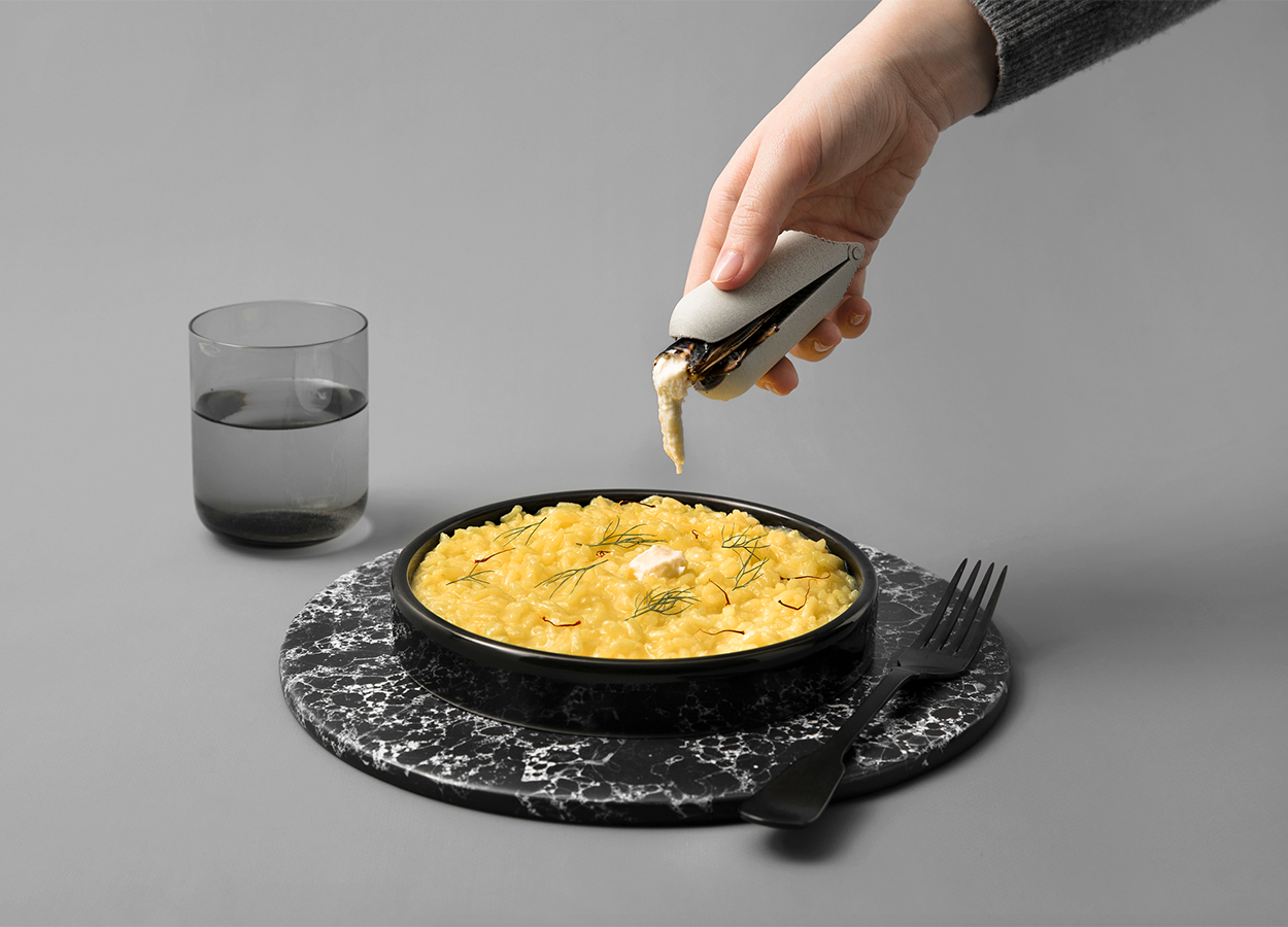 Saffron risotto with waterubgs