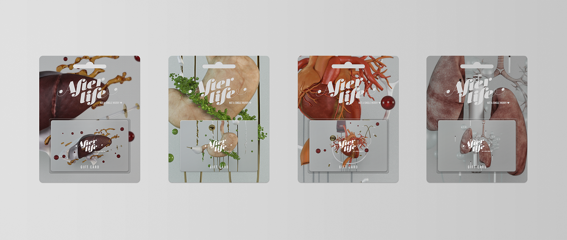 gift card packaging design for a future brand of 3d printing human organs or bio-printing